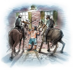 Rathbun turned his rancor on the New Orleans Police, whereupon the officers likewise followed procedure, closing in on the drunk and pinning him to the wall with horses specially trained for crowd control.